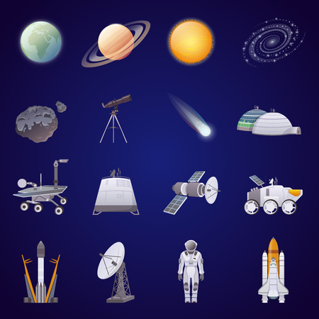Space exploration flat icons set  lunar rover artificial satellite astronaut comet spaceship isolated vector illustration