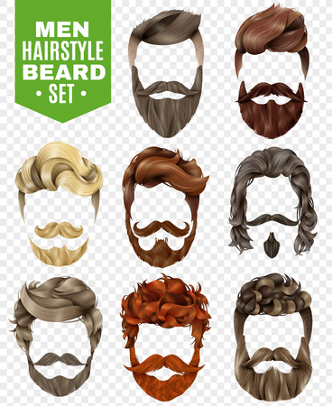 Realistic set of modern styles for male hair and beard of various colors isolated on white background vector illustration Illustration