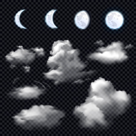 Realistic set of four phases of moon and different cloud shapes on transparent background isolated vector illustration. Ilustração