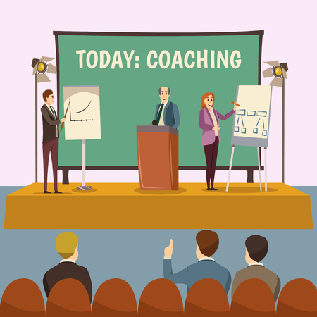 Coaching lecture with business training and conference symbols flat vector illustration