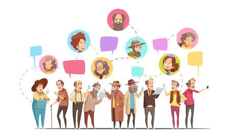 オンラインでコミュニケーションを行う高齢者。