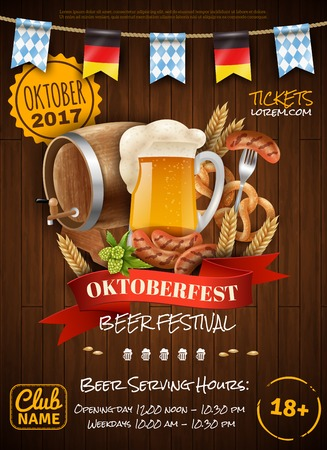 Festive oktoberfest poster with beer barrel sausages wheat mug and party flags on wooden background vector illustration. 向量圖像