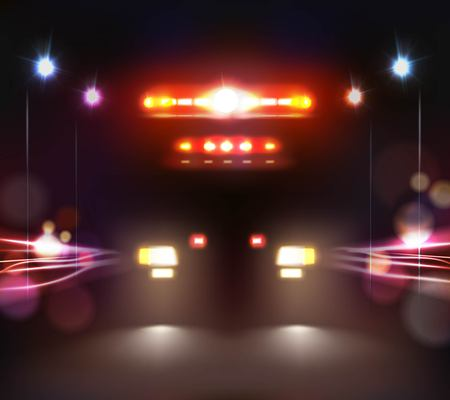 車のライトは夜の道路における救急車のヘッドランプとライトバー画像の現実的な組成物イラスト  イラスト・ベクター素材