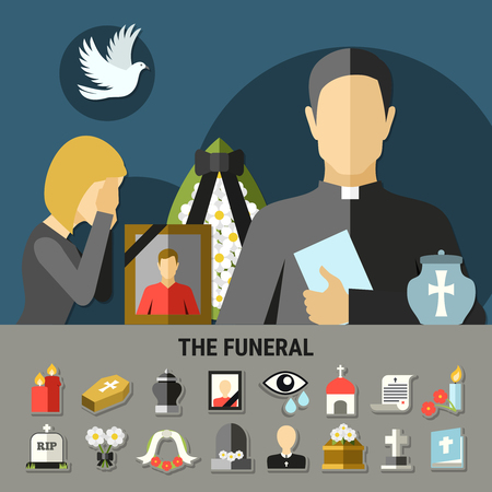 Composition funéraire et de deuil avec tombeau de couronne et prêtre. Banque d'images - 85870188