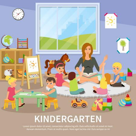 A Kindergarten flat composition with educator working with children, kids during drawing, colorful toys, interior elements vector illustration