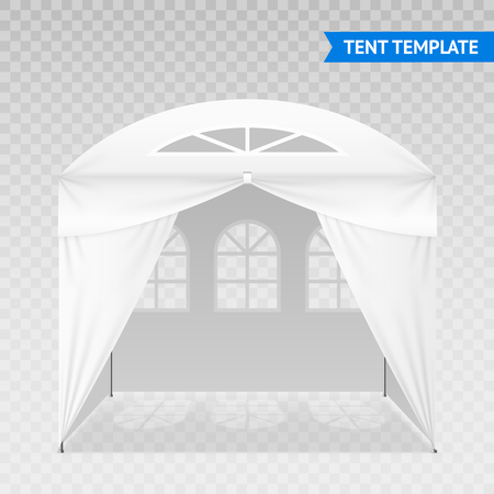 Realistic outdoor tent template with metal poles, domed roof, arched windows isolated on transparent background vector illustration
