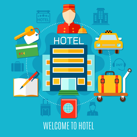 bellman: Welcome to hotel design concept with bellman. Illustration