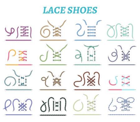 Sportschoenen sneakers en laarzen veter technieken 16 pictogrammen collectie voor brede smalle voeten geïsoleerde vectorillustratie Stock Illustratie