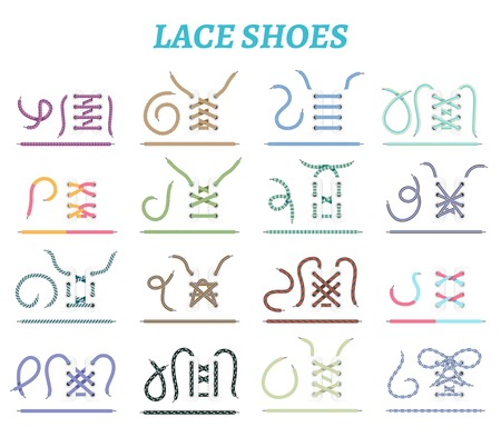 Sport shoes sneakers and boots lacing techniques 16 icons collection for wide narrow feet isolated vector illustration Illustration