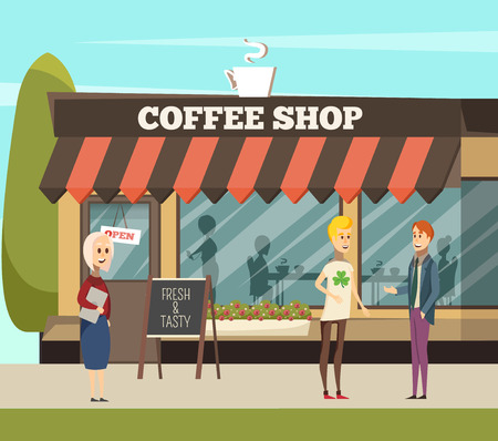 Coffee shop with tables chairs and coffee symbols orthogonal vector illustration Illustration