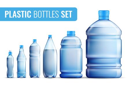 Colorido realista botellas de plástico icono conjunto de agua en diferentes ilustración vectorial Foto de archivo - 85870199