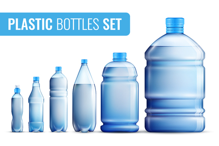 Colored realistic plastic bottles icon set for water in different vector illustration