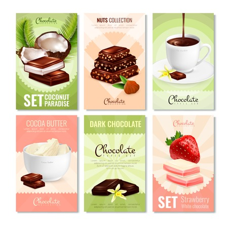 Set of six cocoa product cards with different types of chocolate cocoa sweets and filler images vector illustration