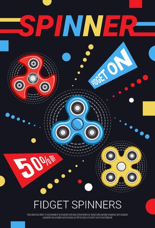 Popular stress relieving hand fidget spinners discount sale advertisement colorful poster with black background vector illustration