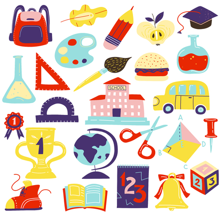 School symbols accessories flat icons set with schoolbus schoolbooks scissors geometrical figures schoolbag bell isolated vector illustration