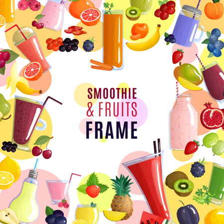 Colored smoothie frame background with a scattering of fresh fruits and beverages vector illustration