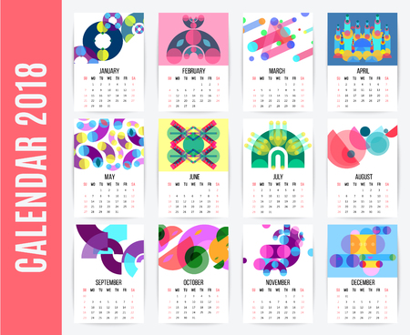 Geometric shapes calendar design template with different pages for each month and memphis style artwork compositions vector illustration