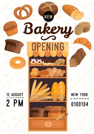 Bakery opening poster with flour products including bread, pastry on wooden shelves on light background vector illustration