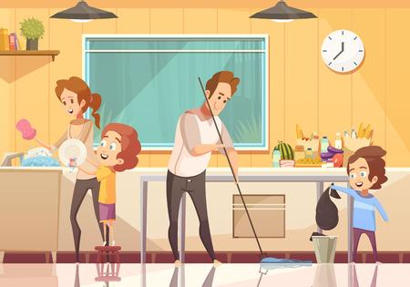 Enfants aidant les parents nettoyage affiche de dessin animé rétro cuisine avec plancher balayage et lavage plats abstract vector illustration