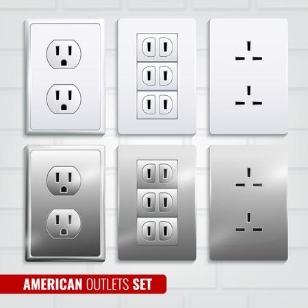 Reeks Amerikaanse afzet bij witte plastic die platen op lichte van de bakstenen muur 3d vectorillustratie wordt geïsoleerd als achtergrond Stock Illustratie