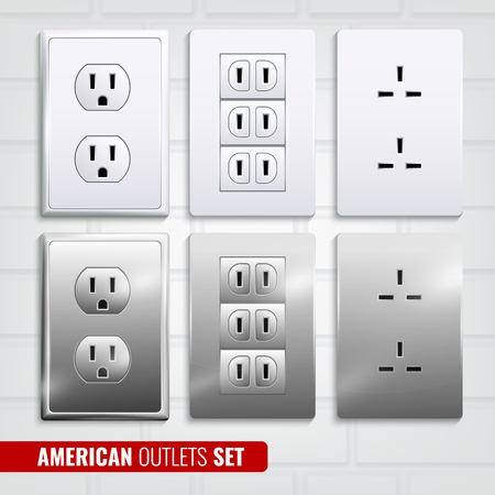 Set of american outlets at white plastic plates isolated on light brick wall background 3d vector illustration