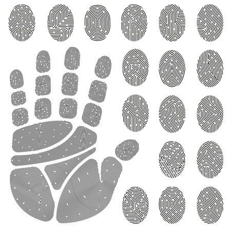 details: Set of black white prints of fingers and palm with unique details isolated vector illustration