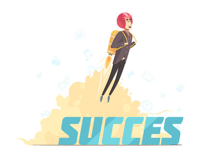Business startup launch success symbolic retro cartoon poster with young red haired businesswoman rocketing upwards vector illustration