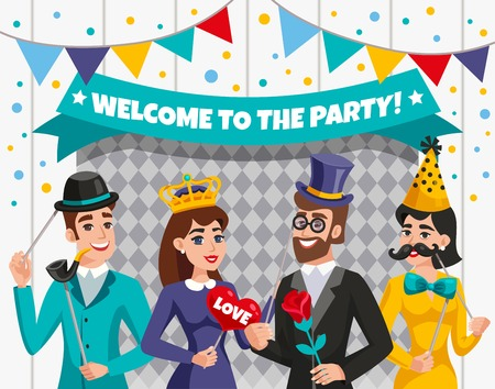 Colored carnival photo booth party people composition with welcome to the party headline or transparent vector illustration