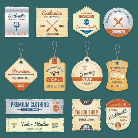 Clothing stores, sewing and tailor shop labels set isolated vector illustration