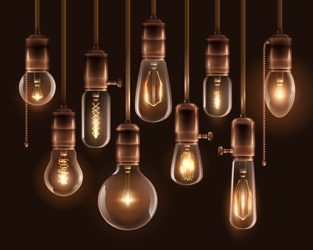 Realistic vintage glowing light bulbs icon set with hanging downward from the ceiling vector illustration