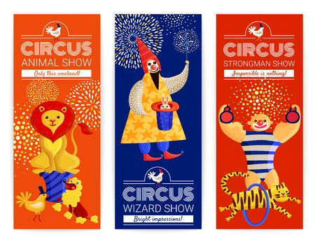 Set of vertical banners with advertising of circus show with magician, strongman, trained animals isolated vector illustration 向量圖像