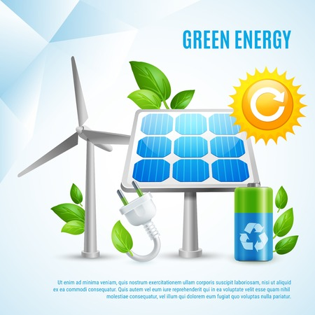 Green energy design concept with wind turbines solar panels green leaves recycling symbols realistic vector illustration