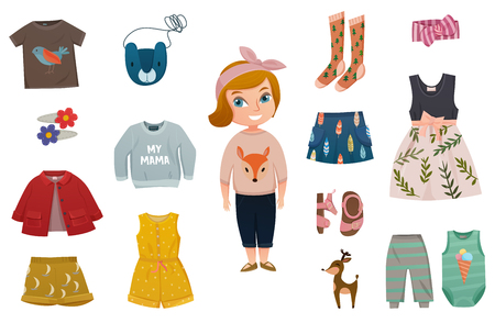 Flat isolated baby girl fashion icon set with stylish little girl and his different clothes vector illustration Illustration