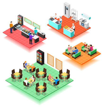 Set of isolated isometric interior compositions of fast food restaurant with service and kitchen staff and visitors vector illustration