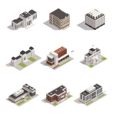 現代と歴史の代表的な政府の建物のアイコン  イラスト・ベクター素材