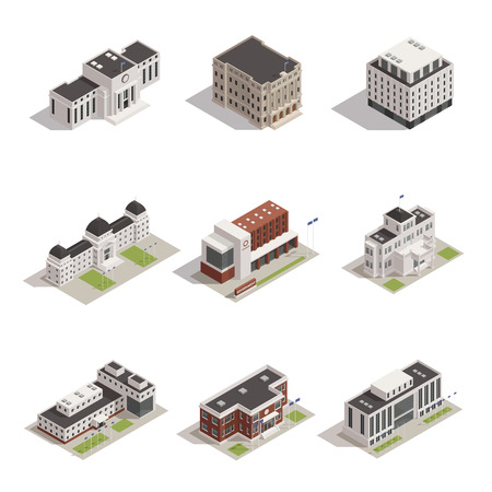 Modern and historical representative government building icons