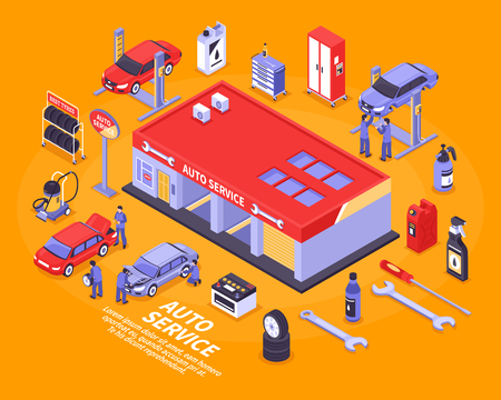 car isolated: Isometric auto service center and various tools for repairing vehicles concept isolated on bright orange background 3d vector illustration Illustration
