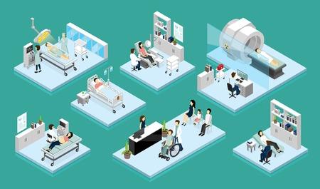 Reeks geïsoleerde isometrische samenstellingen op thema arts en patiënt met medische apparatuur voor kenmerkende chirurgie en rehabilitatie vectorillustratie