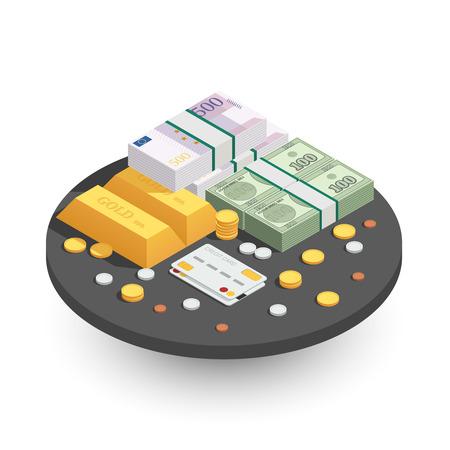 Los métodos de pago redondean la composición isométrica con barras de oro, monedas en efectivo, billetes de banco verdes y tarjeta de crédito, ilustración vectorial Foto de archivo - 85870248