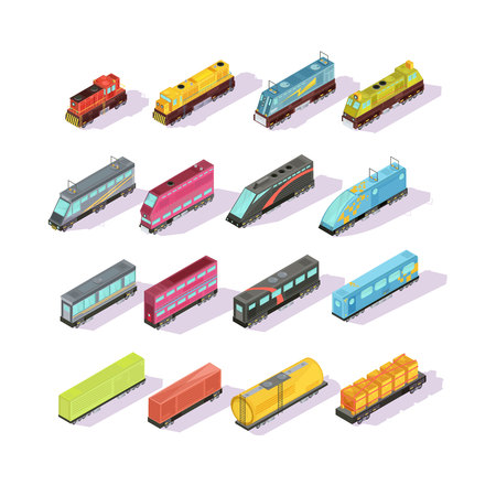 Trains isometric set of isolated colorful locomotive freight cars and passenger couch images with shadows vector illustration 向量圖像