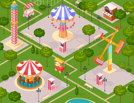 Summer amusement park for children seamless pattern with carousel giant swing extreme family attractions isometric elements cartoon vector illustration Illustration