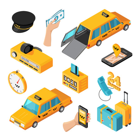 smartphone: Taxi service isometric isolated icons set of different types of taxi cars mobile application for smartphone driver accessories vector illustration