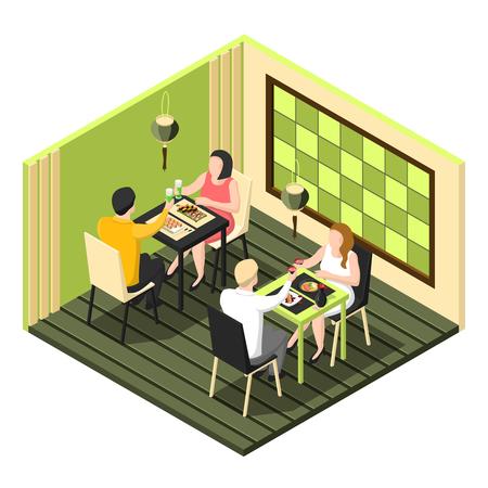 白い背景に寿司バーで夕食を持つ2つのカップルと等角構図3d ベクトルイラスト