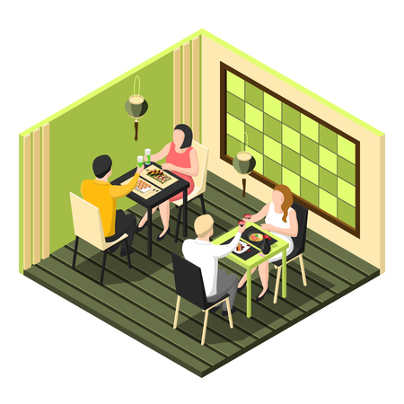 Isometric composition with two couples having dinner at sushi bar on white background 3d vector illustration Çizim