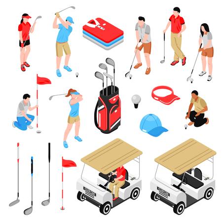 Jeu d'icônes isométrique de golf Banque d'images - 85870258