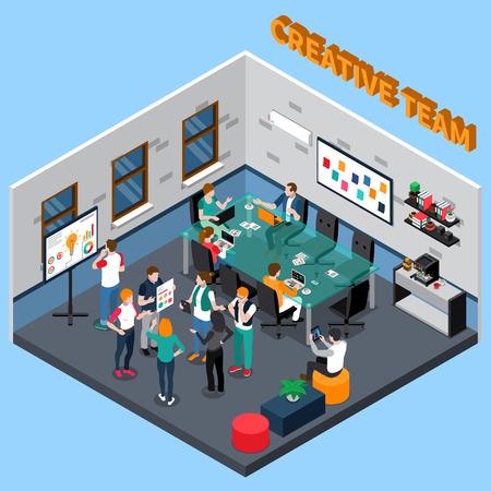 Het creatieve team bespreekt project in bureau met glaslijst, koffiemachine, raad met informatie isometrische vectorillustratie