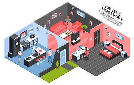 Gekleurde isometrische slimme huissamenstelling met drie ruimte en technologie thuis vectorillustratie