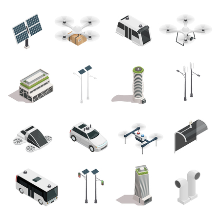 Smart city isometric icons collection