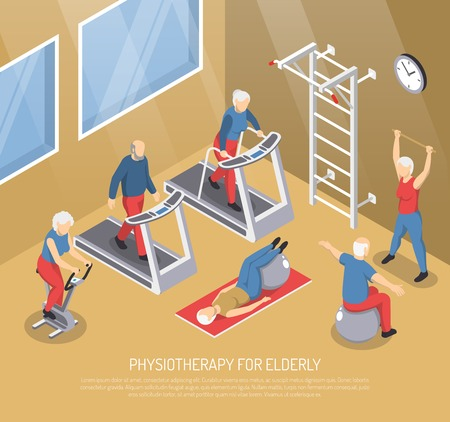 Physiotherapy for elderly isometric vector illustration with seniors in gym doing rehabilitation exercises with use trainers and sport inventory Çizim