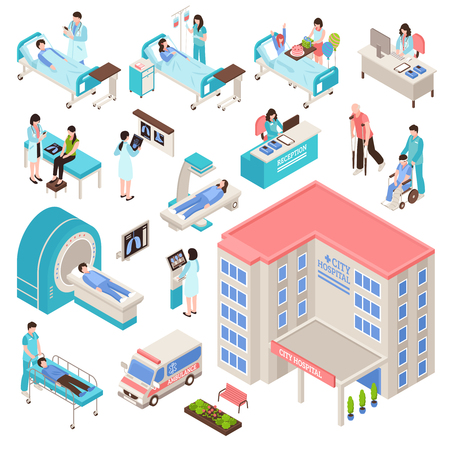 Hospital isometric set Illustration